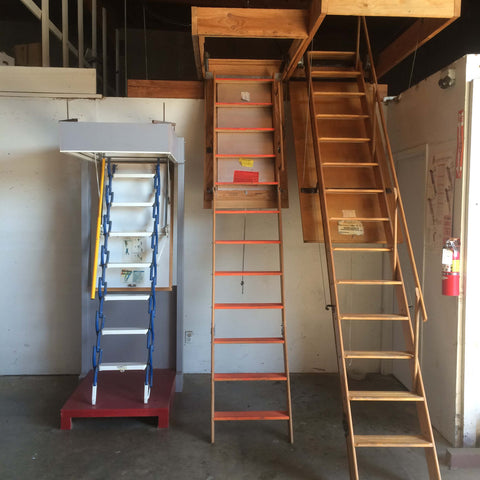 telescoping attic ladder, folding attic ladder, and disappearing stairway attic ladder