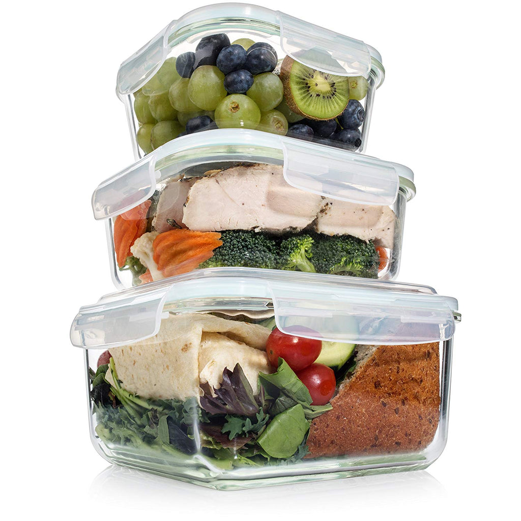 7 Piece Set Glass Food Container