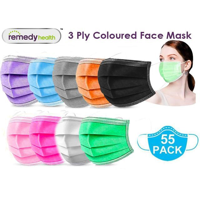3-Ply Colourful Disposable Protective Face Masks - 55 per pack