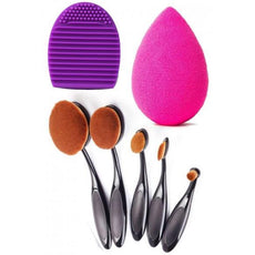 5 Oval Brush Set With Make-up Egg Sponge