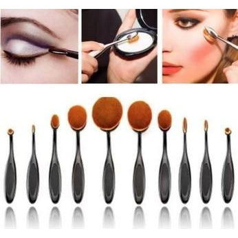 Incredible 10 Piece Oval Makeup Brushes