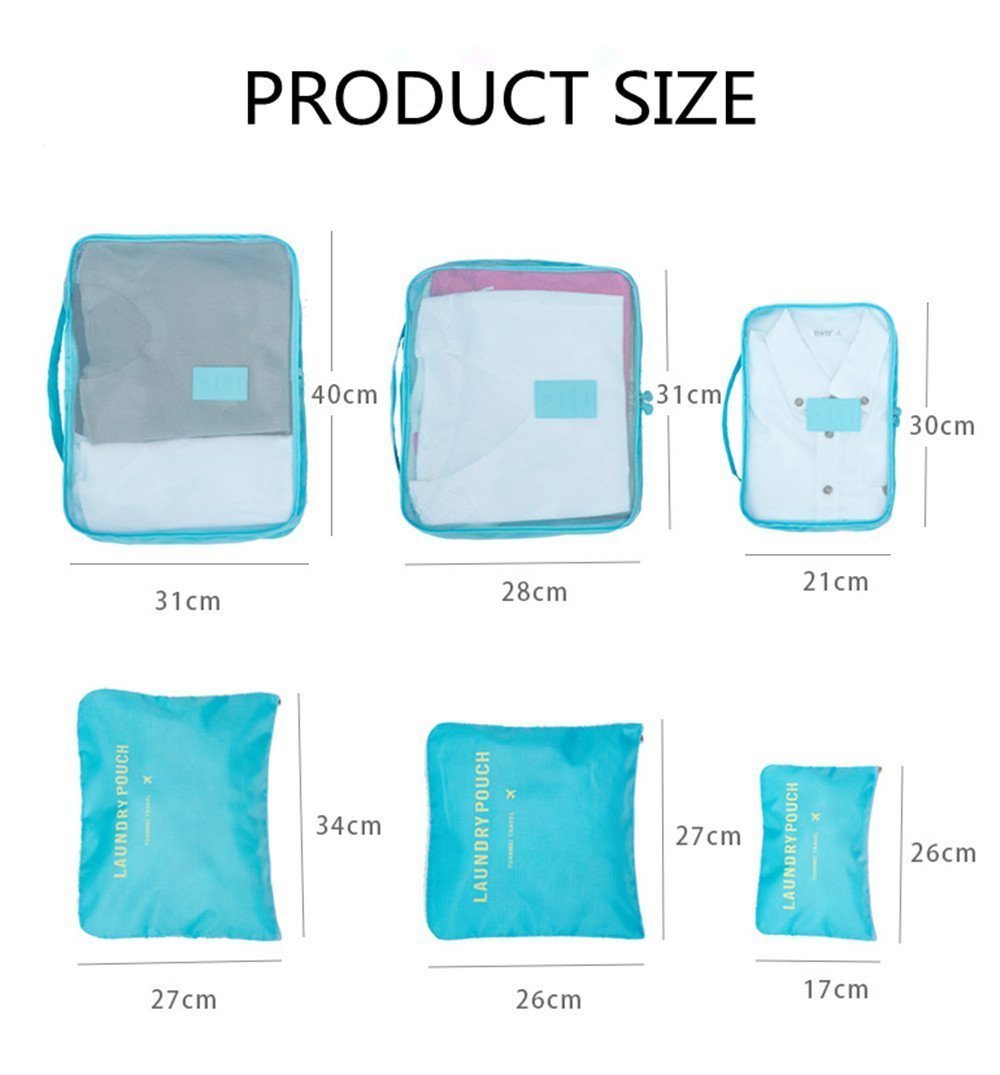6pc Travel Organizer Set