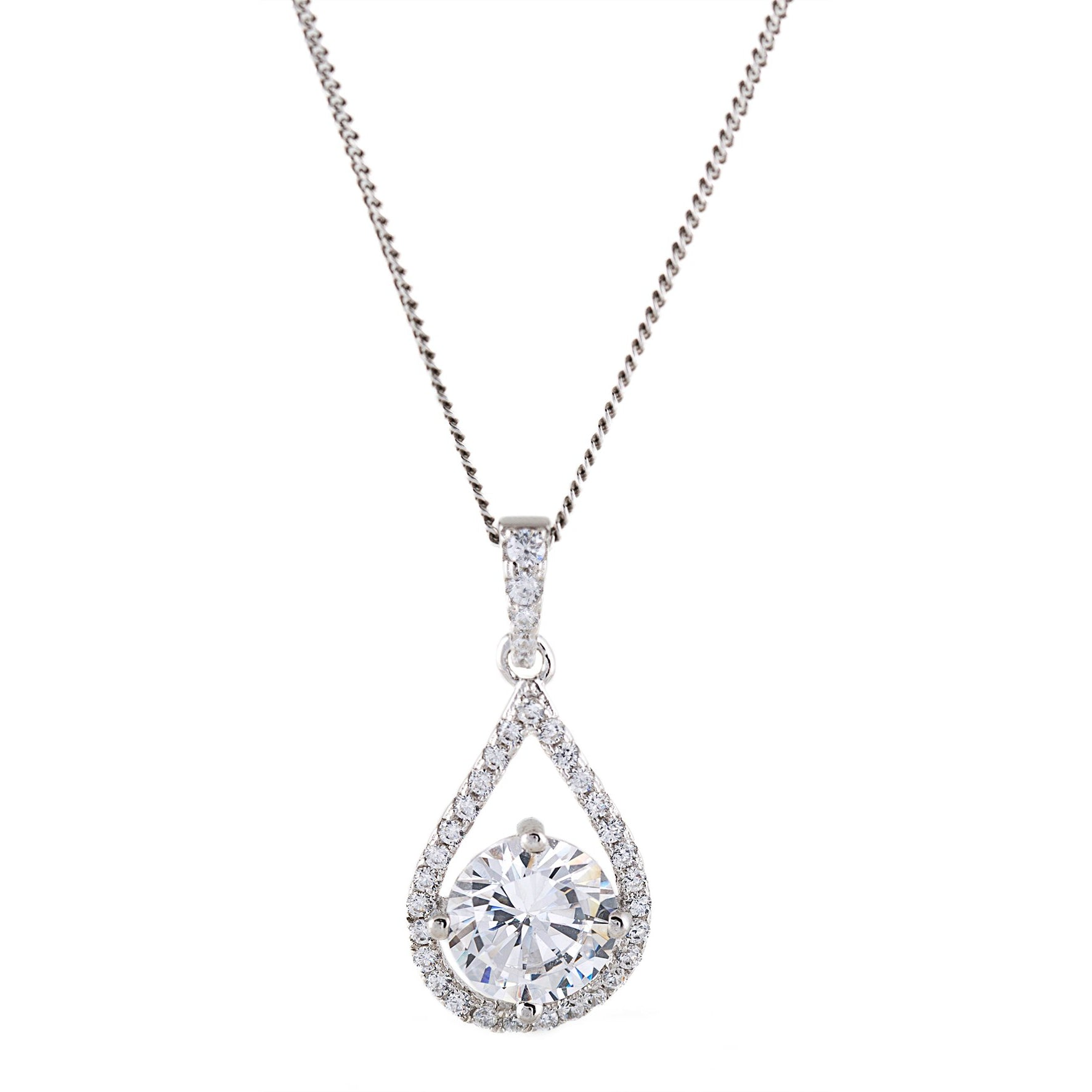 Sterling Silver Tear Drop Pendant Necklace by Infinity Prestige Jewel Collection