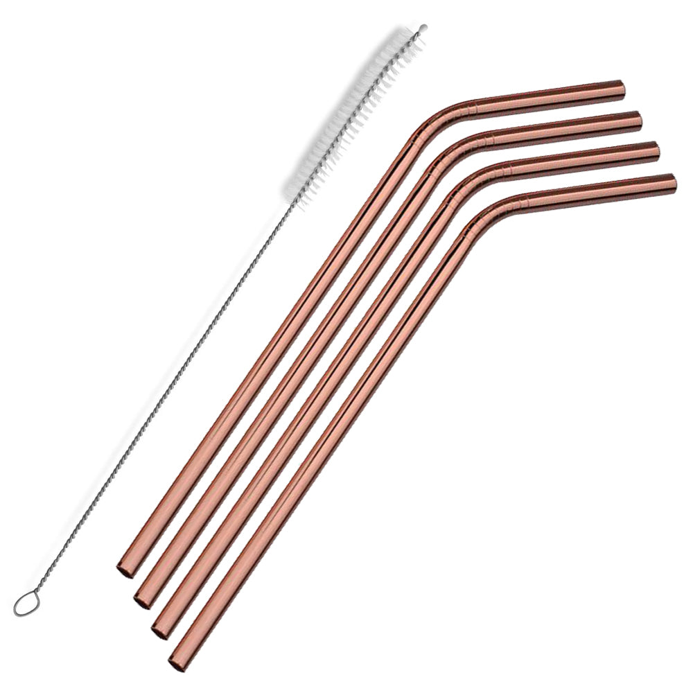 The Last Straw - Stainless Steel Rose Gold Straws with cleaning brush
