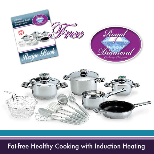 Royal Diamond 15-piece Stainless Steel Cookware