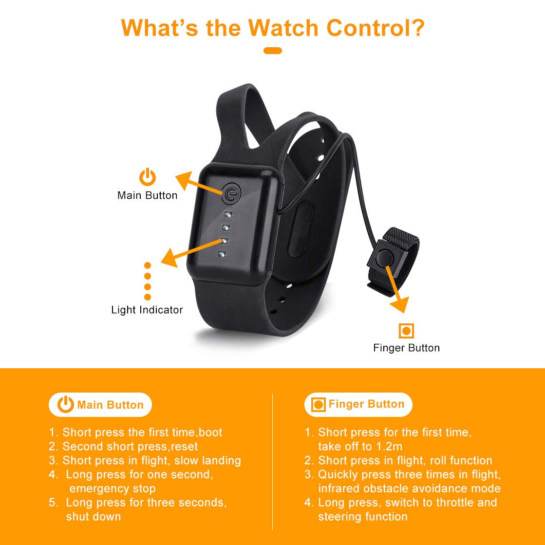Hand Sensor Drone with Watch Control