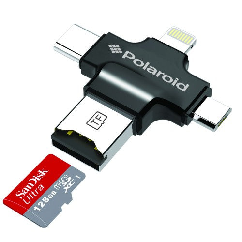 Polaroid Universal 4 in 1 USB Micro SD Card Reader for Mobile Devices