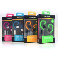 Polaroid Sports Earbuds with Built-in-Mic and Removable Ear Hooks