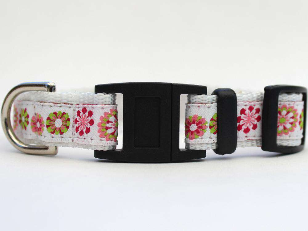 This is the Winter Garden Breakaway Buckle Cat Collar by Surf Cat. It features floral patterns set on a winter white fabric. The has breakaway buckles that pop open under eight pounds of pressure. This helps reduce choking hazards. The collar is made with soft and comfortable nylon overlaid with durable polyester ribbon. uintuple stitching at stress points provides extra strength too. So your cat gets a strong, comfortable collar.