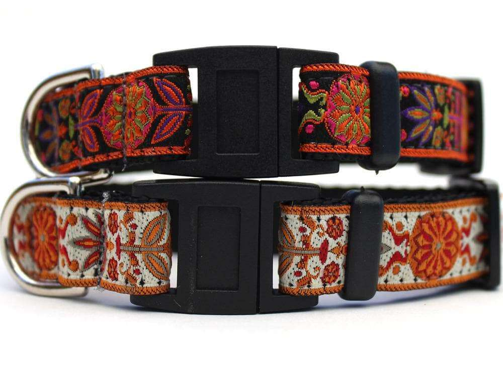 These are the Venice Cat Collars by Surf Cat. They are inspired Italian Renaissance tapestries and come in two different colors: ivory or ink. The collars are made with breakaway buckles that pop apart under eight pounds of pull-pressure. This protects against choking hazards. They are made of soft and comfortable nylon overlaid with durable polyester ribbon. They are quintuple stitched at stress points for added strength. The fabric and stitching ensure the collar keep its shape comfort bad behavior.