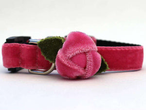 Rosebud Pink Velvet Cat Collar by Surf Cat PetDesignz