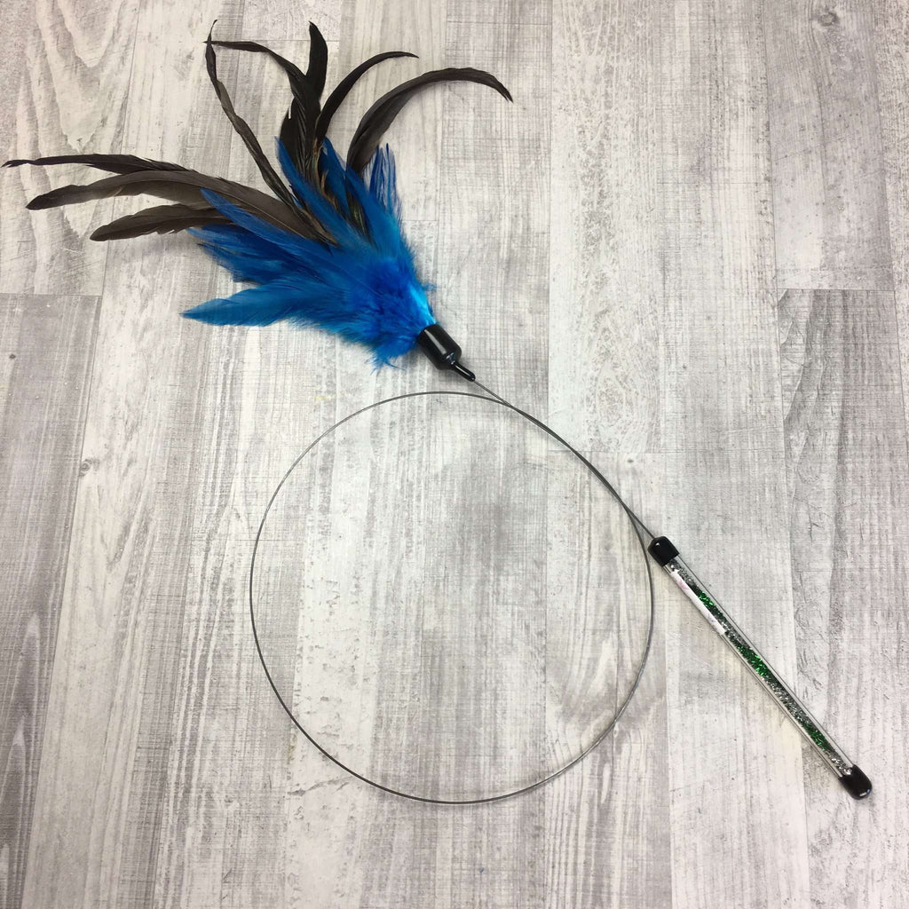 Feather Teaser Wand with blue and grey feathers by Catboutique