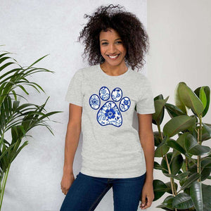 Blue Flower Paw Print Graphic T-Shirt