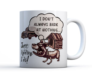Ceramic giftable mug with artwork of a dog that barks at everything - Petdesignz
