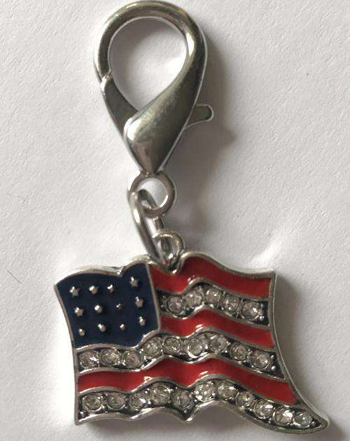 Bling-y Old Glory (USA Flag) Dog Collar Charm or Keychain by Diva Dog