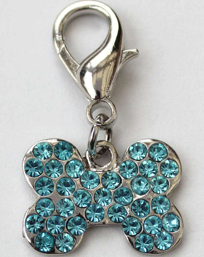 Blue Crystal Bone Dog Collar Charm or Keychain by Diva Dog
