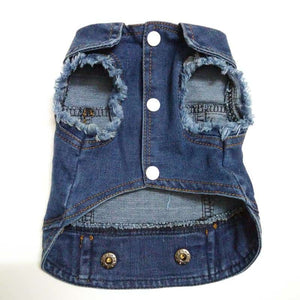 Distressed Faded Washed Denim Dog Coat (Jacket) - Black Denim or Blue Denim