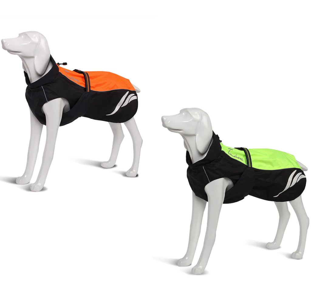 Truelove - Waterproof Reflective Dog Rain Jacket for Winter - Green/Grey, Orange/Grey