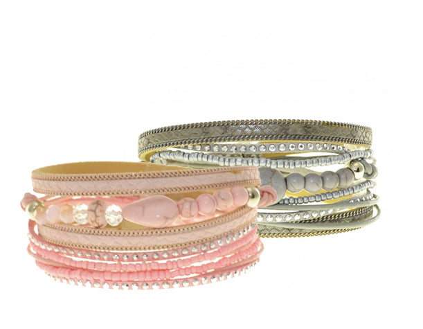 ShagWear - Leather Multi Wrap Bracelet with Semi-Precious Stones (Pink or Grey)