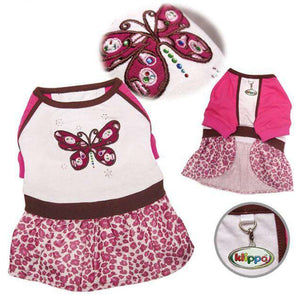 Klippo - Sparkling & Colorful Butterfly Dog Dress with a Leopard Print Skirt