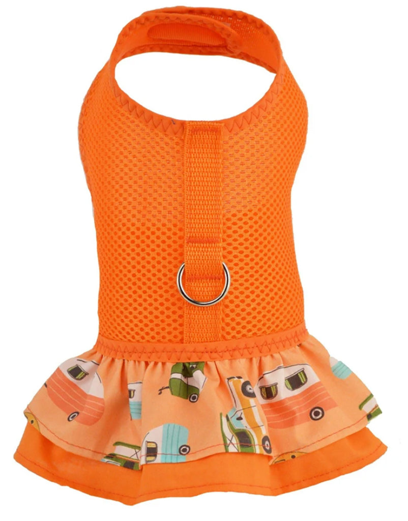 Orange Camper Print Air Mesh Ruffled Harness Dress By Spoiled Dog Designs