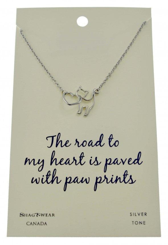 "ShagWear - Cat Necklace - ""The Road To My Heart is Paved With Paw Prints"""