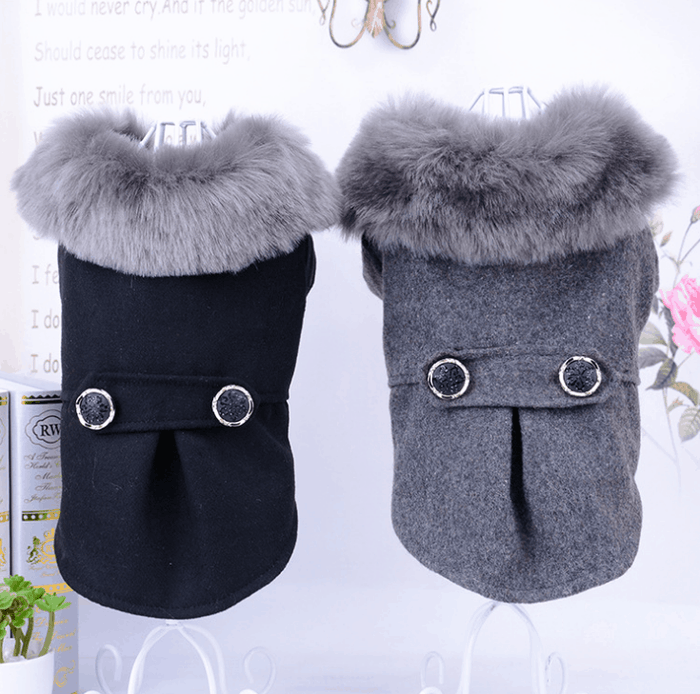 Fashionable Wool Dog Coat (Jacket) - Trench Coat with Faux-Fur Collared Accent