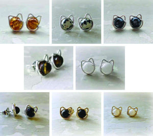 Hand Formed Cat Stud Earrings by Contempo - Artisan Jewelry - PetDesignz