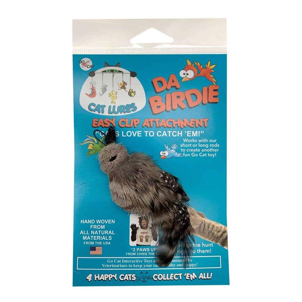 This is Da Birdie Teaser Wand Cat Toy Replacement Lure in the real packaging.