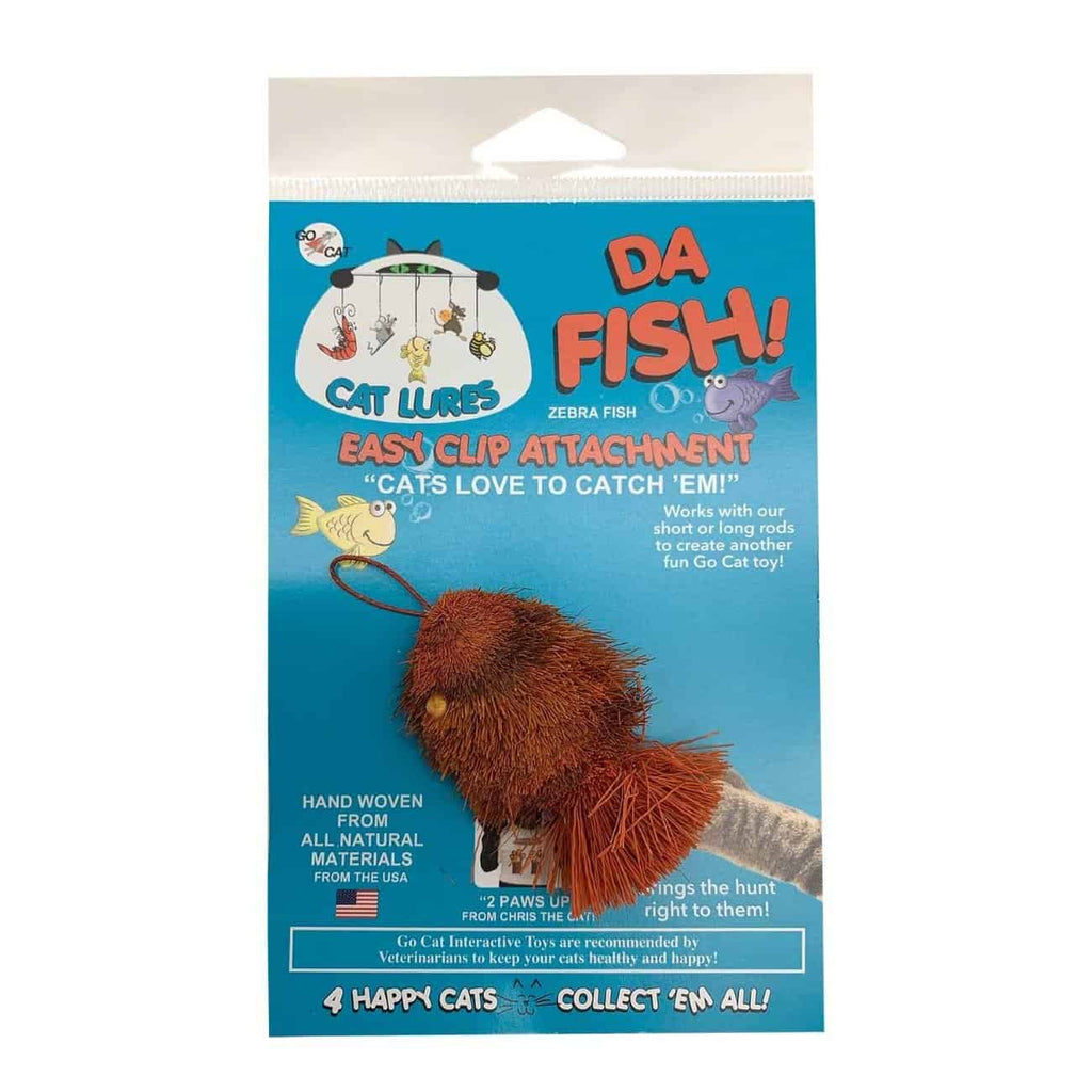 This is the Da Goldfish™ Teaser Wand Cat Toy Replacement Lure in its real packaging. The fish has a dark burnt orange body with light reddish orange stripes. There is a cotter clip attachment at the fish's head so it can attach to a Go Cat® teaser wand. The fish has a bristly tail and the lure is made to engage a cat's hunting instincts.