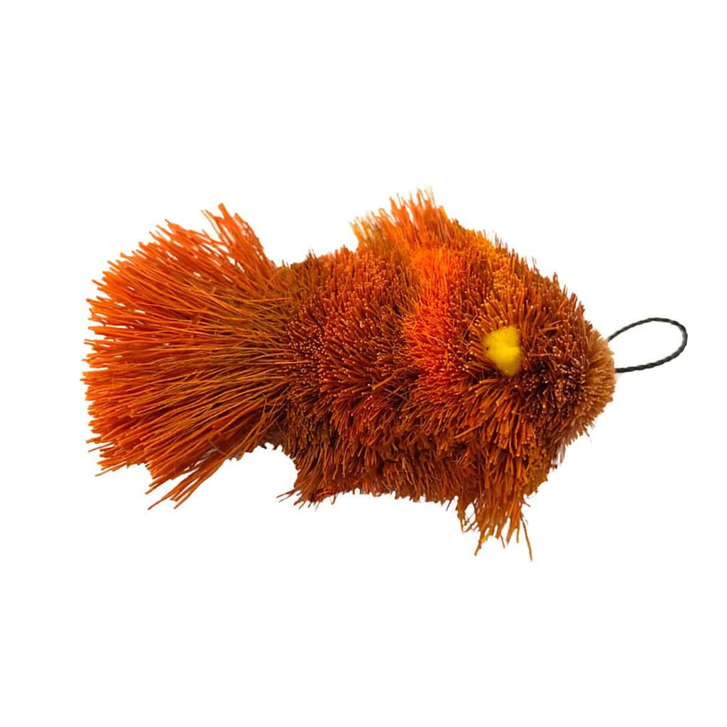 This is the Da Goldfish™ Teaser Wand Cat Toy Replacement Lure by Go Cat®. The fish has a dark burnt orange body with light reddish orange stripes. There is a cotter clip attachment at the fish's head so it can attach to a Go Cat® teaser wand. The fish has a bristly tail and the lure is made to engage a cat's hunting instincts.
