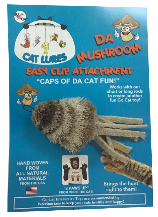 This is the Da Mushroom Teaser Wand Cat Toy Replacement Lure in its actual packaging. The mushroom is made from various grey, tan, and brown fur. The lure has eight separate pieces of materials for eight legs. There is a cotter clip ring at the top of the lure. This lure is meant to engage at the cat's hunting instincts like prowling, pawing, and pouncing. The lure works best with a Go Cat Teaser Wand Cat Toy.