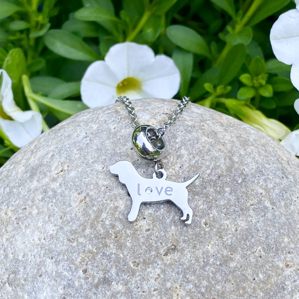 Dog Love Pendant Love Necklace with Gemstone - Artisan Jewelry