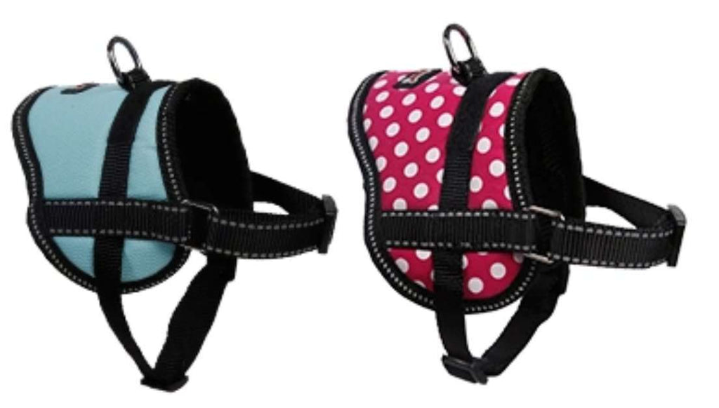 These are Small Dog and Cat Oxford Training Harnesses by DogLemi. They're for training animals how to walk, not jump, and not pull. They're an excellent alternative to collars for pets with medical conditions such as collapsing trachea and more. One harness is light blue. Another is pink with white polka dots.
