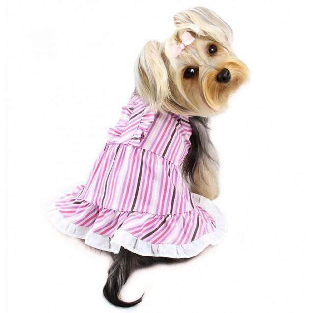 Elegant Pink and Purple Striped Dog Dress with Ruffle By Klippo