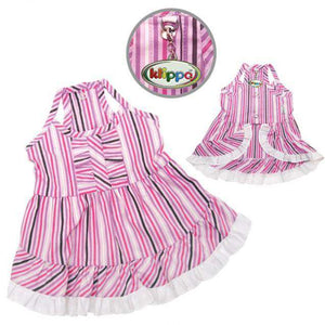 Klippo - Elegant, Smart, Pink and Purple Stripes Dog Dress