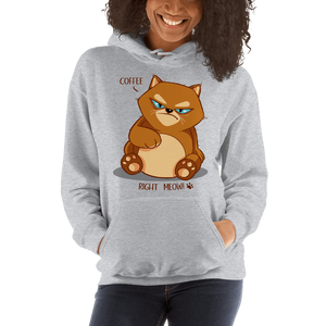 Coffee Right MEOW! Grumpy Cat Graphic Pullover Sweatshirt Hoodie PetDesignz Unisex men women