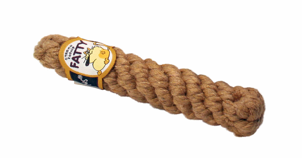 This is the Fatty Catnip Cigar Catnip Cat Toy by Loopies. The toy is made out of brown woven cotton rope. The toy is cigar shaped with a cigar table. It's actually stuffed with catnip. The rope can double as a cat scratcher too.