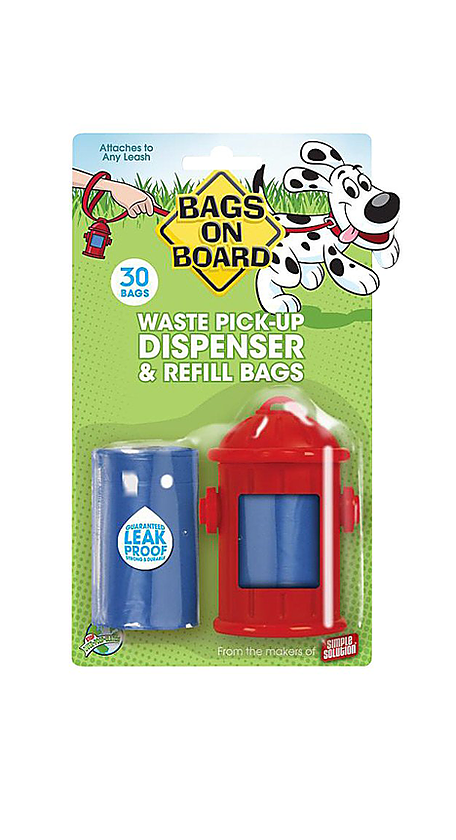 Fire Hydrant Dog Bag Dispenser Fits on Leash (Pet Waste Bag) by Bags on Board
