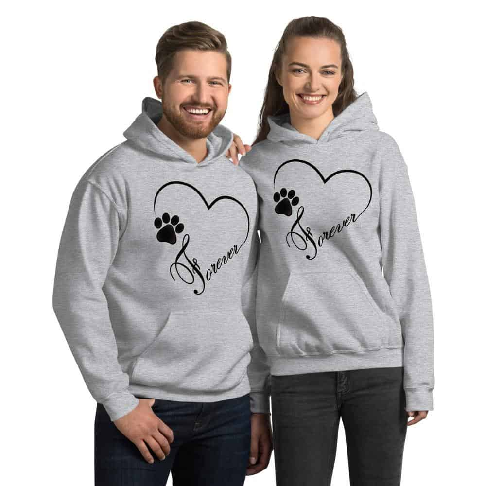 Paw Print Heart with Forever Graphic Pullover Hoodie Sweatshirt Dog Cat PetDesignz Unisex men women