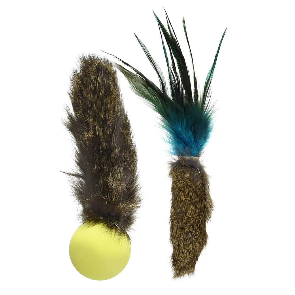 This is the Fur Fetish Set of Da Fur Thing™ & Fur Pong™ Teaser Wand Cat Toy Replacement Lures by Go Cat. Both toys are made from real fur. The Da Fur Pong has a yellow ping pong ball filled with rice and catnip. The Da Fur Thing has blue, green, and black feathers at one end. The toys are meant to engage the cat's instinctive behavior such as hunting, pawing, and prowling.