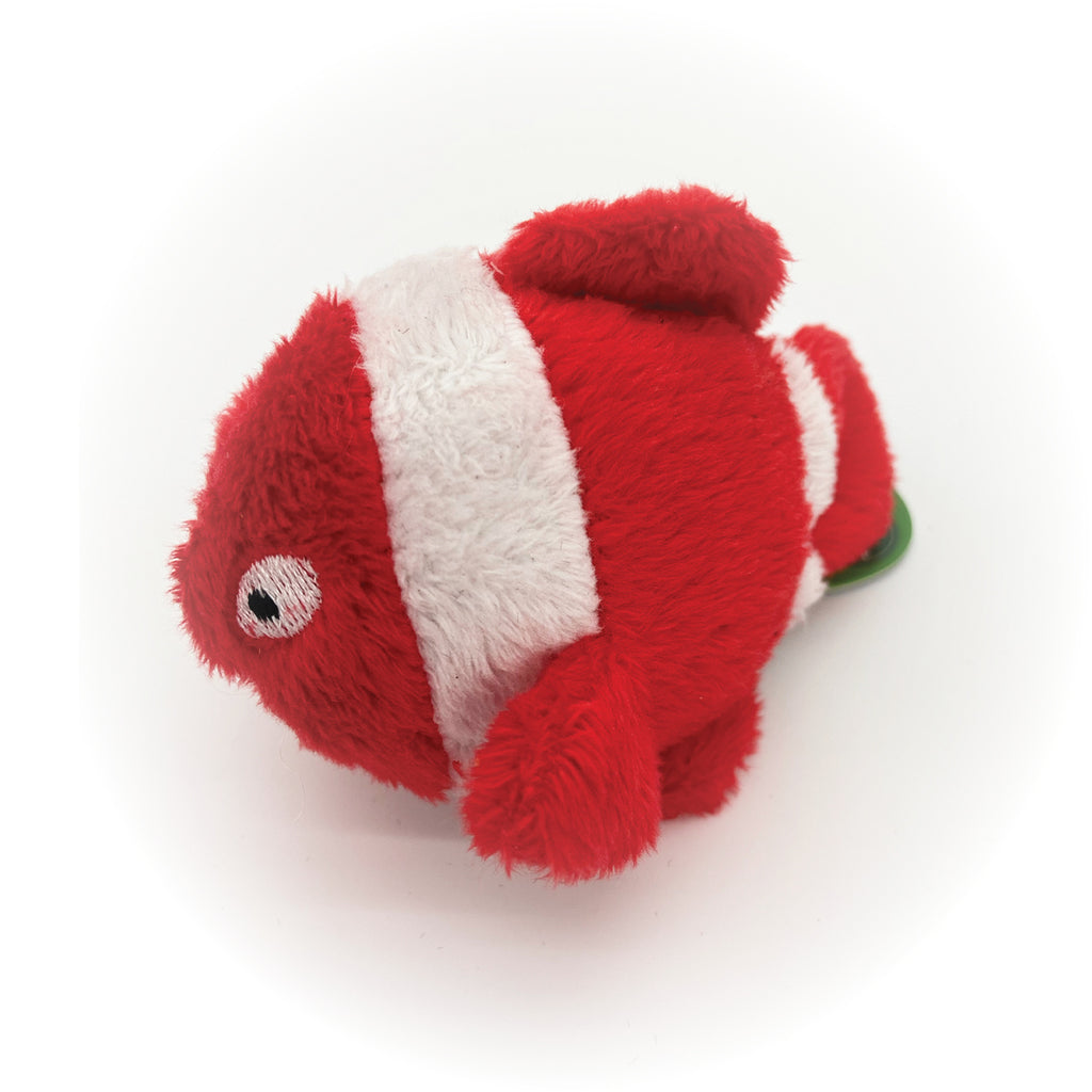 This a Goldfish Plush Catnip Cat Toy by Loopies. It is red and has white stripes. The fish has a soft plush body but is designed for rough whack and slap play. The toy is stuffed with organic catnip. The toy is meant to engage your cat's hunting instincts.