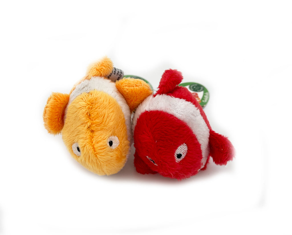 These are Goldfish Plush Catnip Cat Toys by Loopies. They come in two color ways: orange with white stripes or red with white stripes. The fish has a soft plush body but is designed for rough whack and slap play. Each fish is filled with organic catnip. The toy is meant to engage your cat's hunting instincts.
