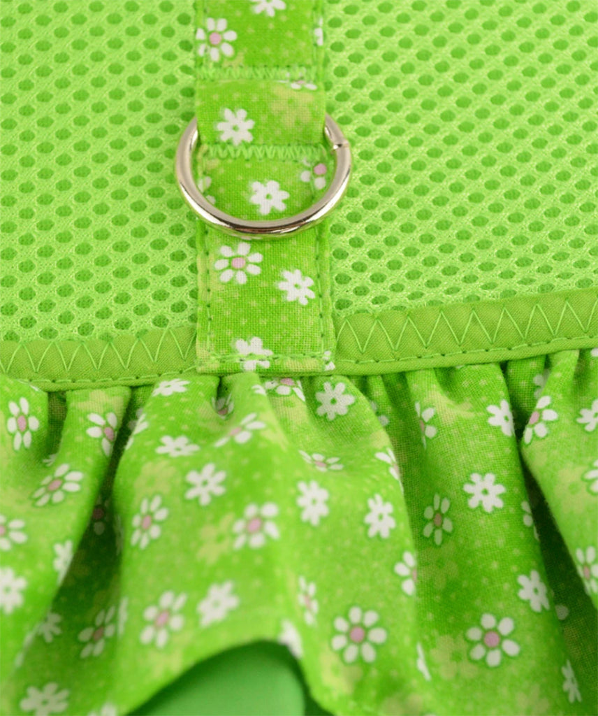 Green Air Mesh Ruffled Dog Harness With Ruffles By Spoiled Dog Designs