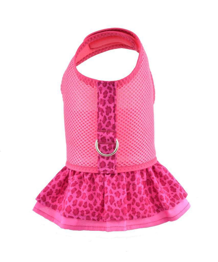 Fuchsia Dog Dress and Harness With Ruffles By Spoiled Dog Designs