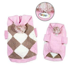 Klippo - Argyle Pattern Hoodie Dog Sweater with Pompom (Pink)