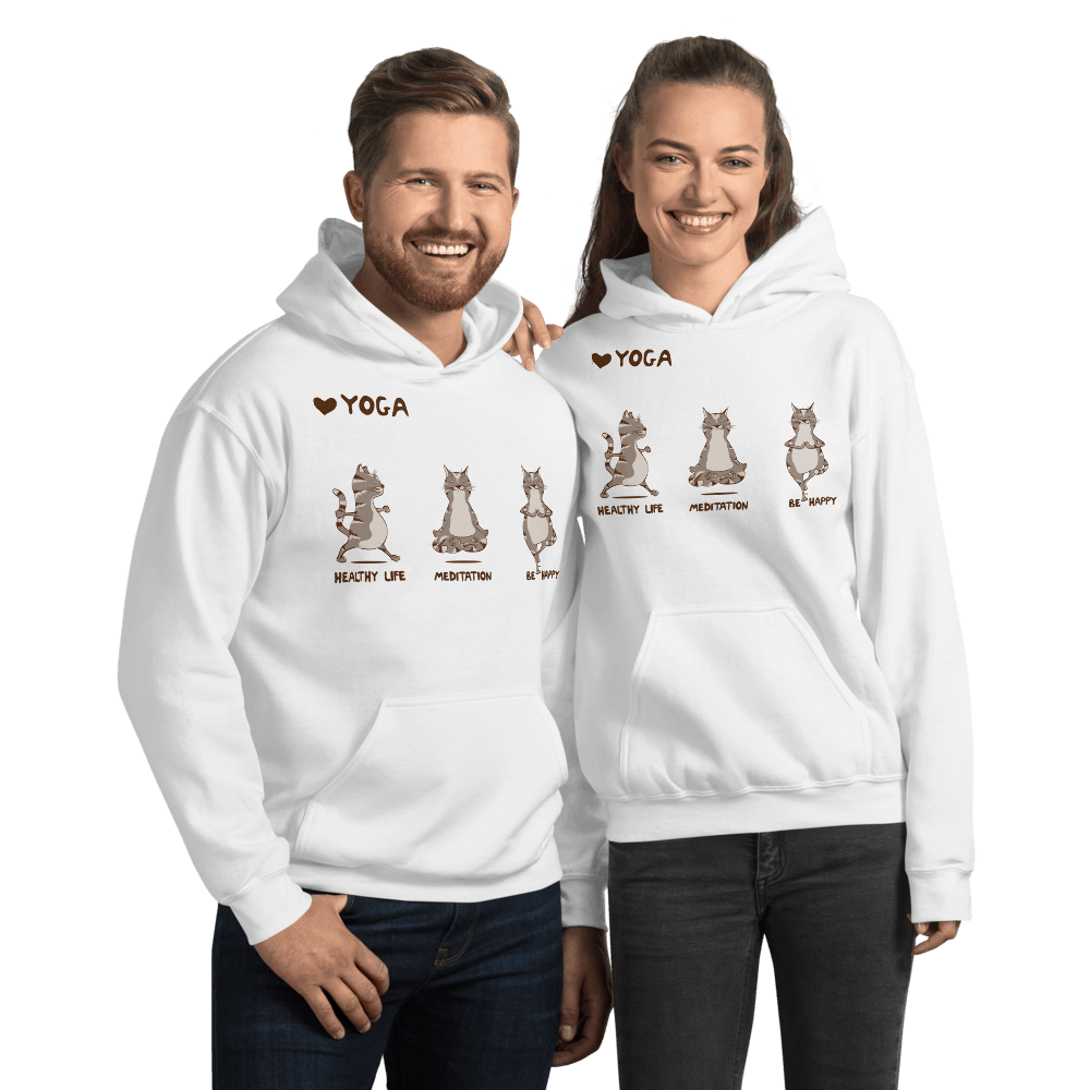 Healthy Life, Be Happy Yoga Cat Graphic Pullover Hoodie Sweatshirt Dog Cat PetDesignz Unisex men women