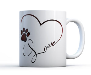 Cute and sentimental white ceramic mug with the word love, a pawprint and a heart.