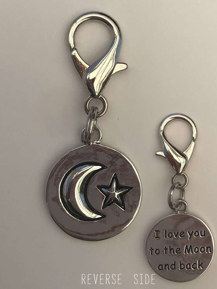 I Love You to the Moon and Back Dog Collar Charm or Keychain by Diva Dog