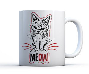 A quality ceramic 15oz mug of a moody cat meowing